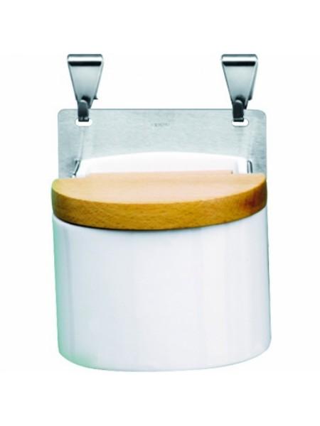 Банка для соли Навеска, из белого фарфора с подставкой и крючками, TCBSS, CRISTEL